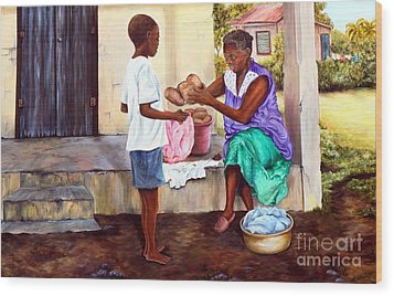 Wood Print featuring the painting Grandma's Creole Bread by Anna-maria Dickinson