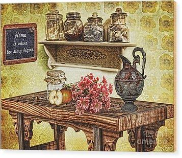 Grandma's Kitchen Wood Print by Mo T