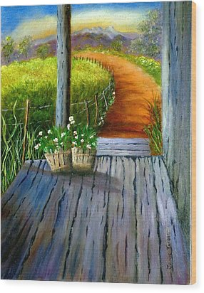 Grandma's Old Country Porch Wood Print by Janis  Tafoya