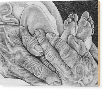 Wood Print featuring the drawing Grandmother's Hands by Penny Collins