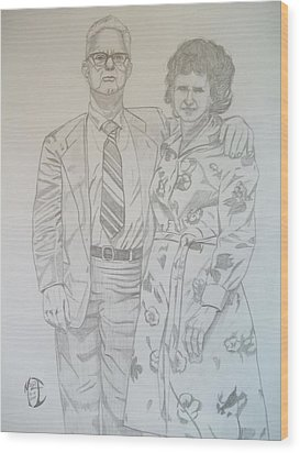 Wood Print featuring the drawing Grandparents Of Late 1970s by Justin Moore