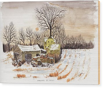 Wood Print featuring the painting Grandpas Forgotten 55 Chevy by Jack G  Brauer