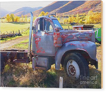 Wood Print featuring the photograph Grandpa's Mack Truck by Jackie Carpenter