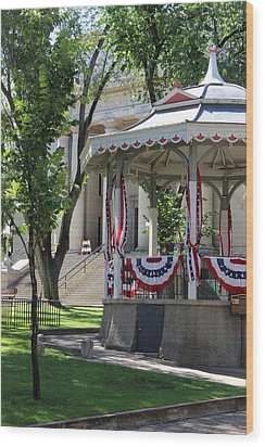 Wood Print featuring the photograph Grandstand Patriotism  by Natalie Ortiz