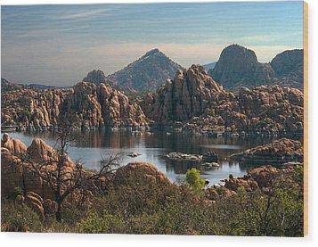 Granite Dells At Watson Lake Wood Print