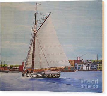 Granite Sloop Albert Baldwin In Boston Harabor 1900 Wood Print