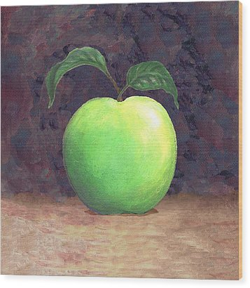 Granny Smith Apple Two Wood Print by Linda Mears