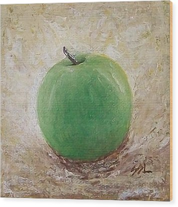 Wood Print featuring the painting Granny Smith by Jane  See
