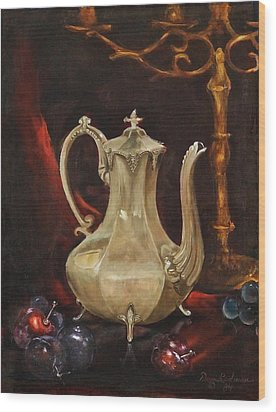 Wood Print featuring the painting Grannys Teapot by Dan Redmon