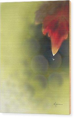 Grape Leaf Water Drop Wood Print by Kume Bryant