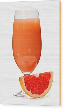Grapefruit Juice In Glass Wood Print by Elena Elisseeva