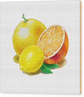 Wood Print featuring the painting Grapefruit Lemon Orange by Irina Sztukowski