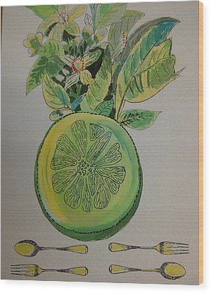Grapefruit Wood Print by Olivier Calas