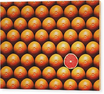 Grapefruit Slice Between Group Wood Print by Johan Swanepoel