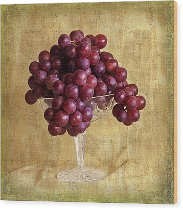 Wood Print featuring the photograph Grapes And Crystal Still Life by Sandra Foster