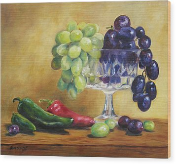 Grapes And Jalapenos Wood Print