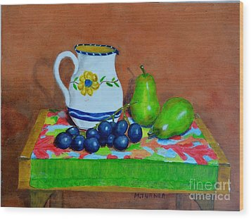 Wood Print featuring the painting Grapes And Pairs by Melvin Turner