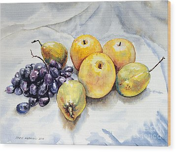 Grapes And Pears Wood Print by Joey Agbayani