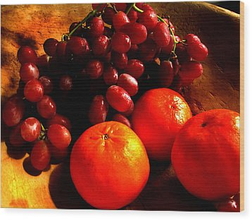 Grapes And Tangerines Wood Print by Greg Allore