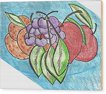 Grapes Wood Print by Becky Sterling