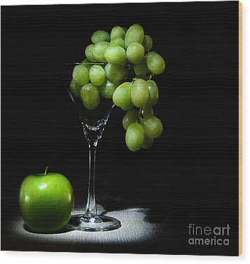Grapes Wood Print by Cecil Fuselier