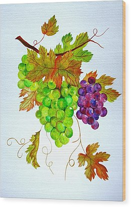 Grapes Wood Print by Elena Mahoney