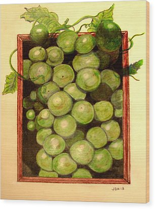 Grapes From A Frame Wood Print by Joseph Hawkins