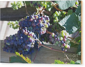 Grapes Wood Print by George Mount