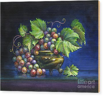 Wood Print featuring the painting Grapes In A Footed Bowl by Jane Bucci