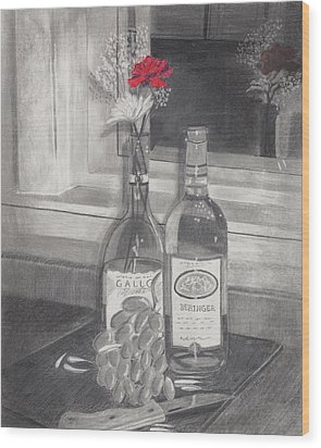 Grapes N Flowers Wood Print by Susan Schmitz