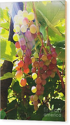 Wood Print featuring the photograph Grapes  by Rose Wang