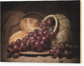 Grapes With Bread Still Life Wood Print