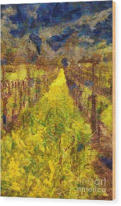 Grapevines And Mustard Wood Print by Alberta Brown Buller
