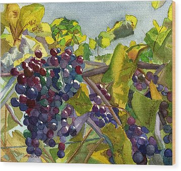 Wood Print featuring the painting Grapevines by Lynne Reichhart