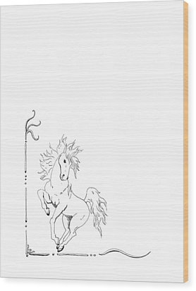 Graphic Horse Wood Print by Lee Halbrook