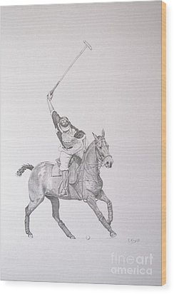 Graphite Drawing - Shooting For The Polo Goal Wood Print
