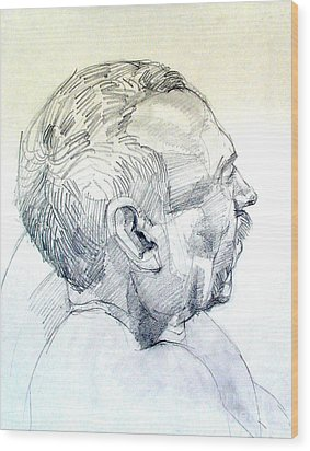 Wood Print featuring the drawing Graphite Portrait Sketch Of A Man In Profile by Greta Corens