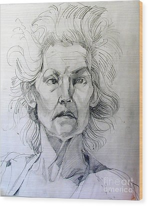Wood Print featuring the drawing Graphite Portrait Sketch Of A Well Known Cross Eyed Model by Greta Corens