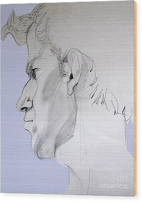 Wood Print featuring the drawing Graphite Portrait Sketch Of A Young Man In Profile by Greta Corens