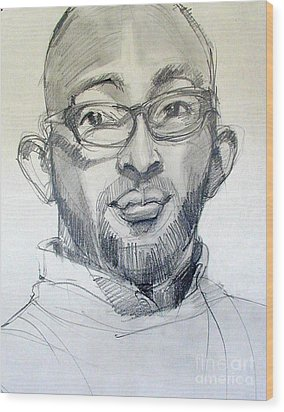 Wood Print featuring the drawing Graphite Portrait Sketch Of A Young Man With Glasses by Greta Corens