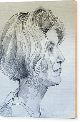 Portrait Drawing Of A Woman In Profile Wood Print