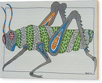 Grass Hopper I Wood Print by Kruti Shah