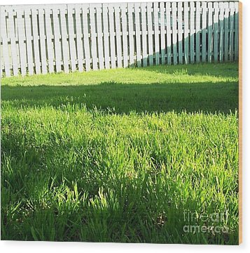Grass Shadows Wood Print