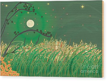 Grasses In The Wind Wood Print by Kim Prowse