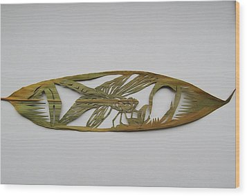 Grasshopper On Bamboo Leaf Wood Print by Alfred Ng