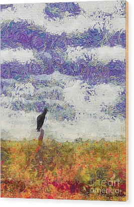 Grassland Sentry Wood Print by Carlee Ojeda