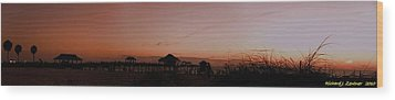 Wood Print featuring the photograph Grassy After Glow At Pier 60 Panorama by Richard Zentner