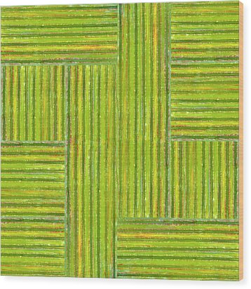 Grassy Green Stripes Wood Print by Michelle Calkins