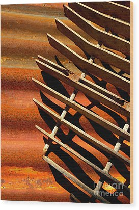 Grate Shadows Wood Print