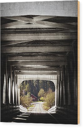 Grave Creek Covered Bridge Wood Print by Melanie Lankford Photography